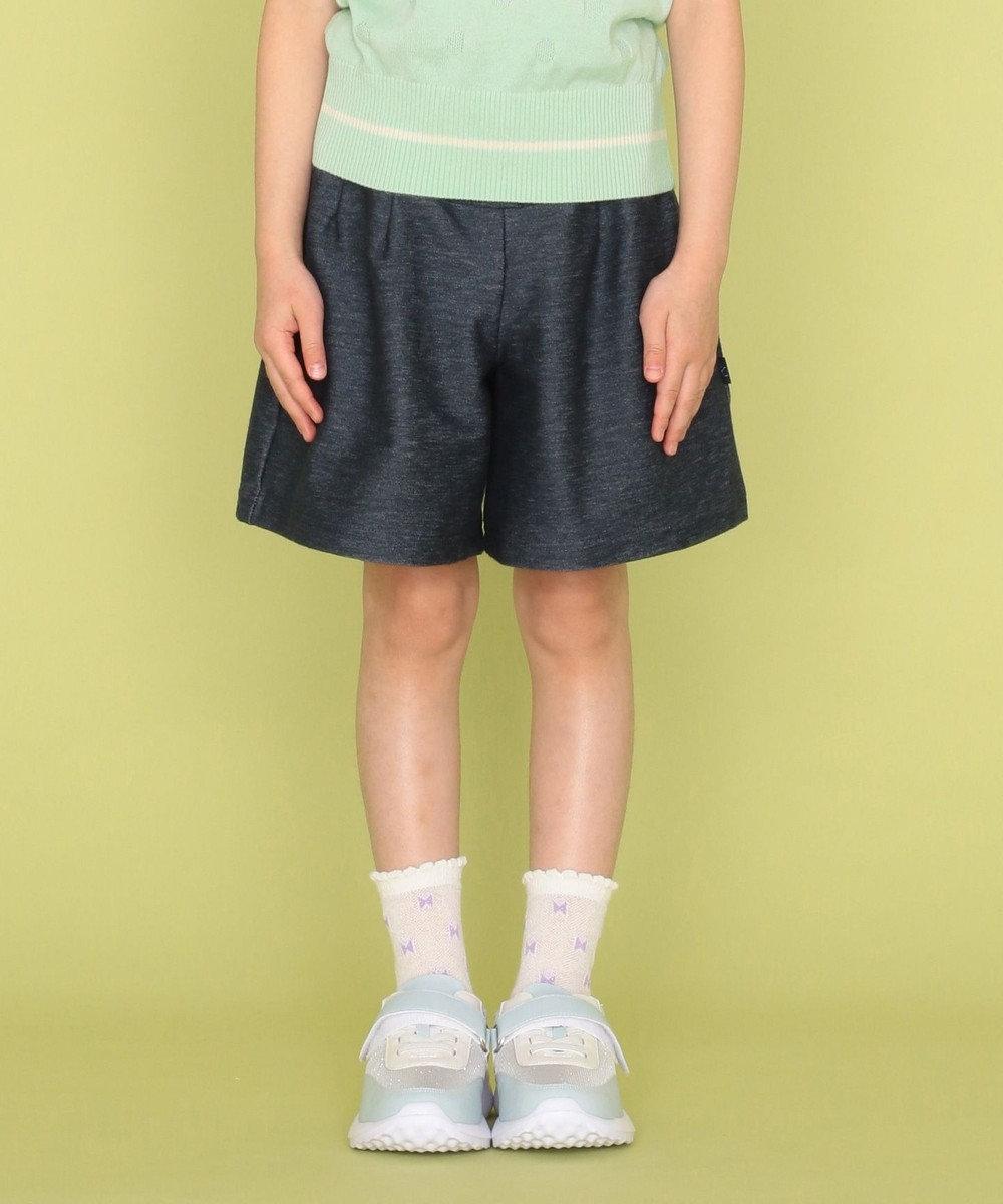 組曲 KIDS 【110-140cm】レースアップデニムニット ハーフパンツ ネイビー系
