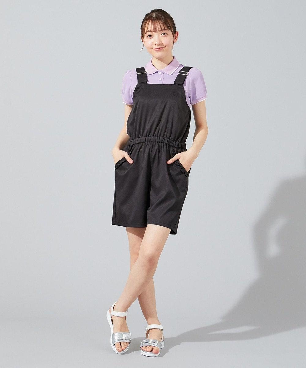 組曲 KIDS 【150-170cm】フリルポケット サロペット ブラック系