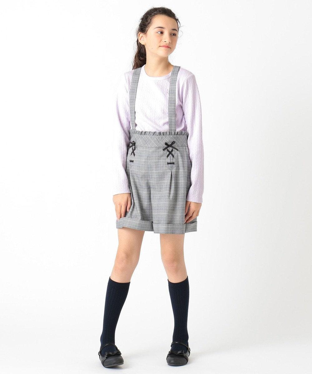 組曲 KIDS 【150-170cm】チェックサスペンダー付きパンツ ブラック系3