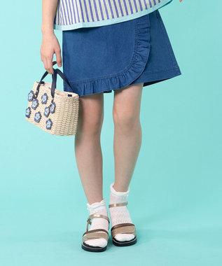 組曲 KIDS 【150~160cm】ストレッチデニム キュロット ブルー系