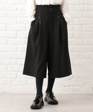 組曲 KIDS 【150~170cm】ウーリッシュフラノ パンツ ブラック系