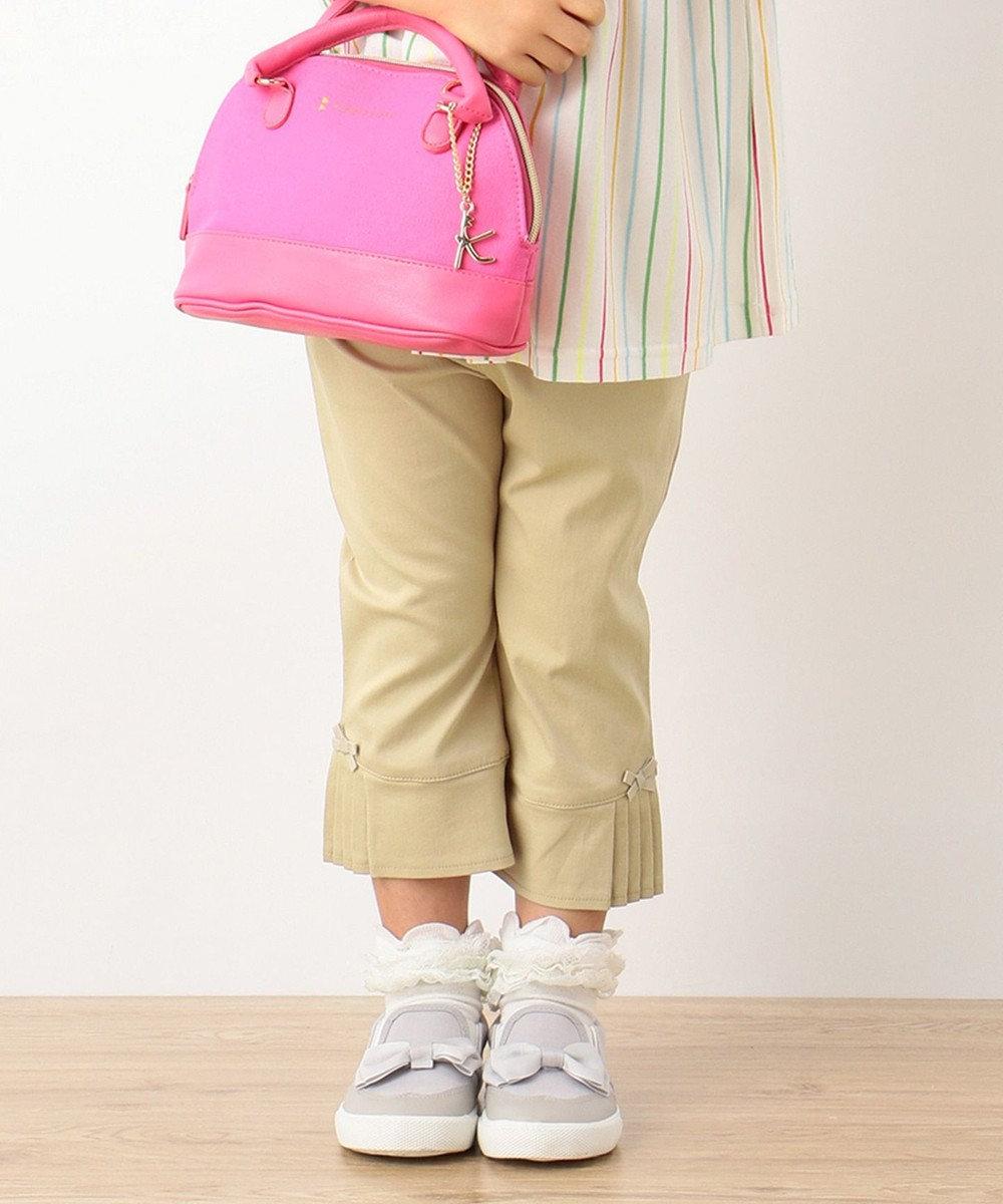 組曲 KIDS 【SCHOOL】ストレッチラチネ サイドプリーツ パンツ ベージュ系