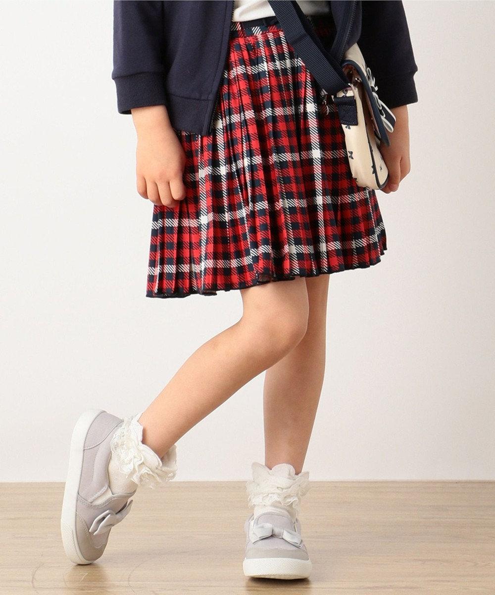 組曲 KIDS 【SCHOOL】30/天竺 チェックPT スカート (インパンツ付き) レッド系4