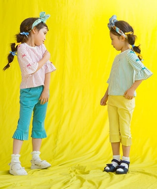 組曲 KIDS 【TODDLER】ストレッチラチネ サイドプリーツ パンツ パープル系
