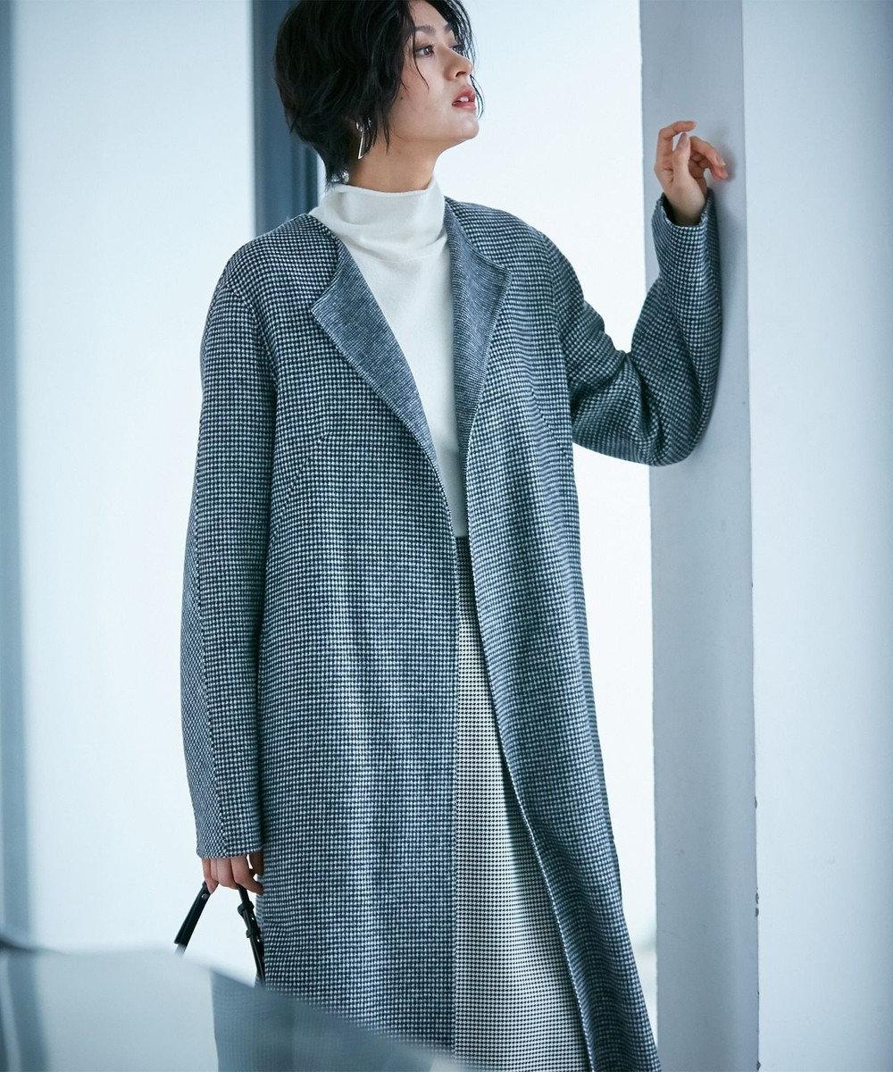 ICB 【mi-mollet掲載】Wool Rever ノーカラーコート ブラック系