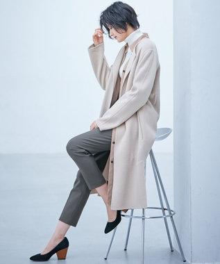 ICB 【mi-mollet掲載】Wool Rever ノーカラーコート ベージュ系