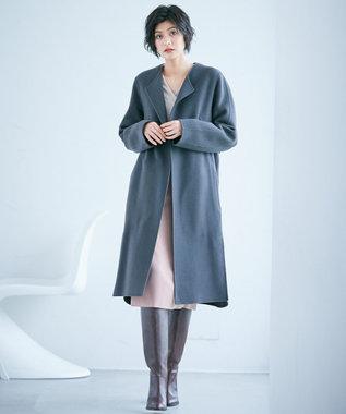 ICB 【mi-mollet掲載】Wool Rever ノーカラーコート グレー系