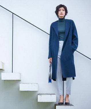 ICB 【mi-mollet掲載】Wool Rever ノーカラーコート ブルーネイビー系