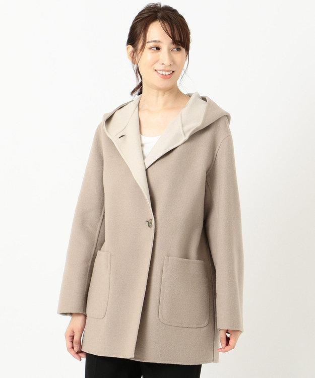 J.PRESS LADIES S 【リバーシブル】スーパー110SリバーチェックII フーデッドコート