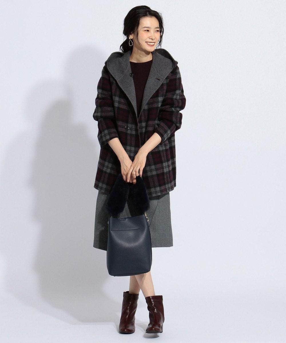 J.PRESS LADIES 【リバーシブル】リバーチェック フード付き コート グレー系