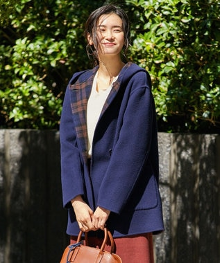 J.PRESS LADIES 【リバーシブル】リバーチェック フード付き コート ネイビー系
