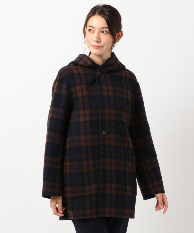 J.PRESS LADIES 【リバーシブル】リバーチェック フード付き コート