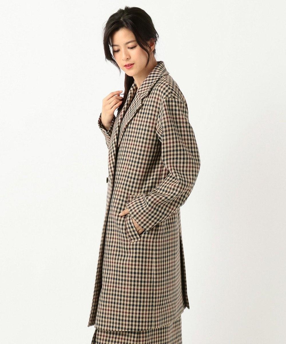 J.PRESS LADIES 3/3綾ガンクラブチェック チェスターコート ダークブラウン系3