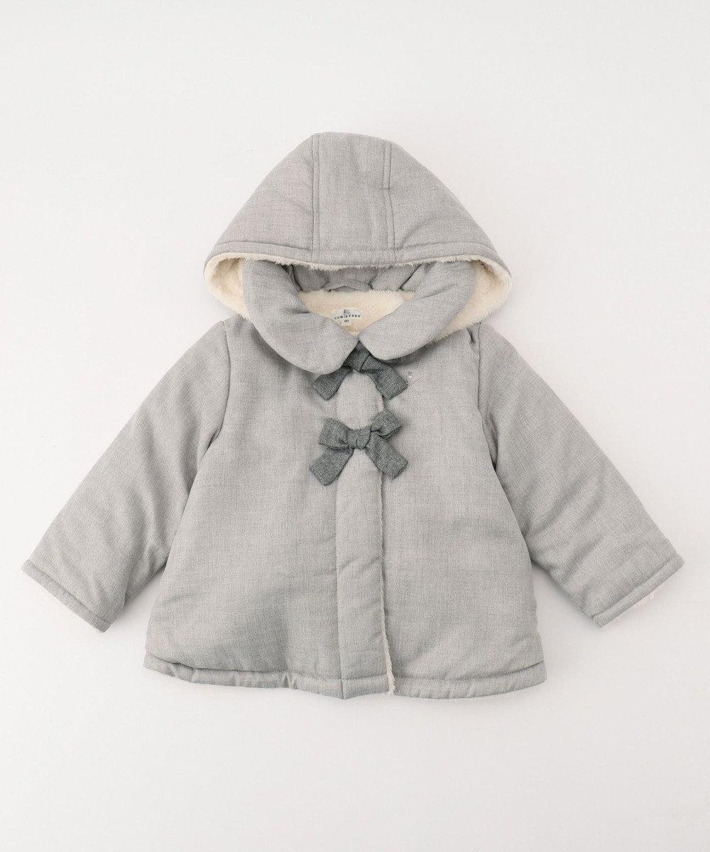 組曲 KIDS 【BABY】ウールライク中わた×ボア コート (90~100cm展開) グレー系