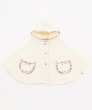 組曲 KIDS 【BABY】プチフラワー接結キルト マント アイボリー系