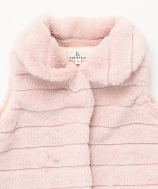 組曲 KIDS 【BABY】ボーダーフェイクファー3WAY ベスト ピンク系