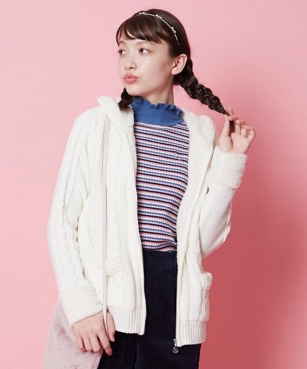 組曲 KIDS 【150-170cm】アラン柄ニット アウター アイボリー系