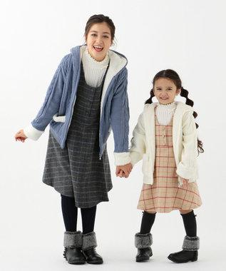 組曲 KIDS 【150-170cm】アラン柄ニット アウター ダルブルー系
