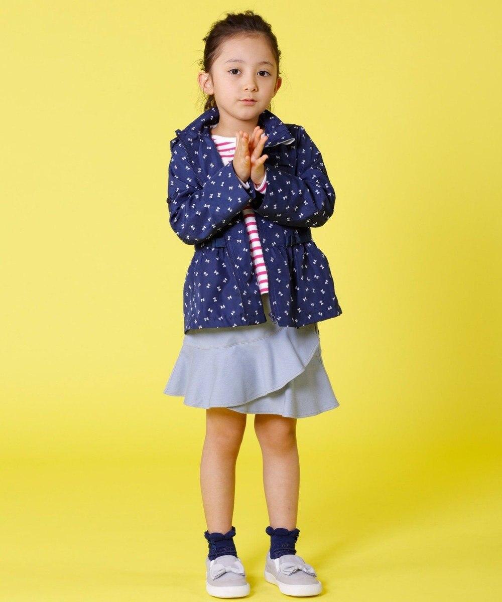 組曲 KIDS 【TODDLER】ポリエステル リボンpt ブルゾン ネイビー系
