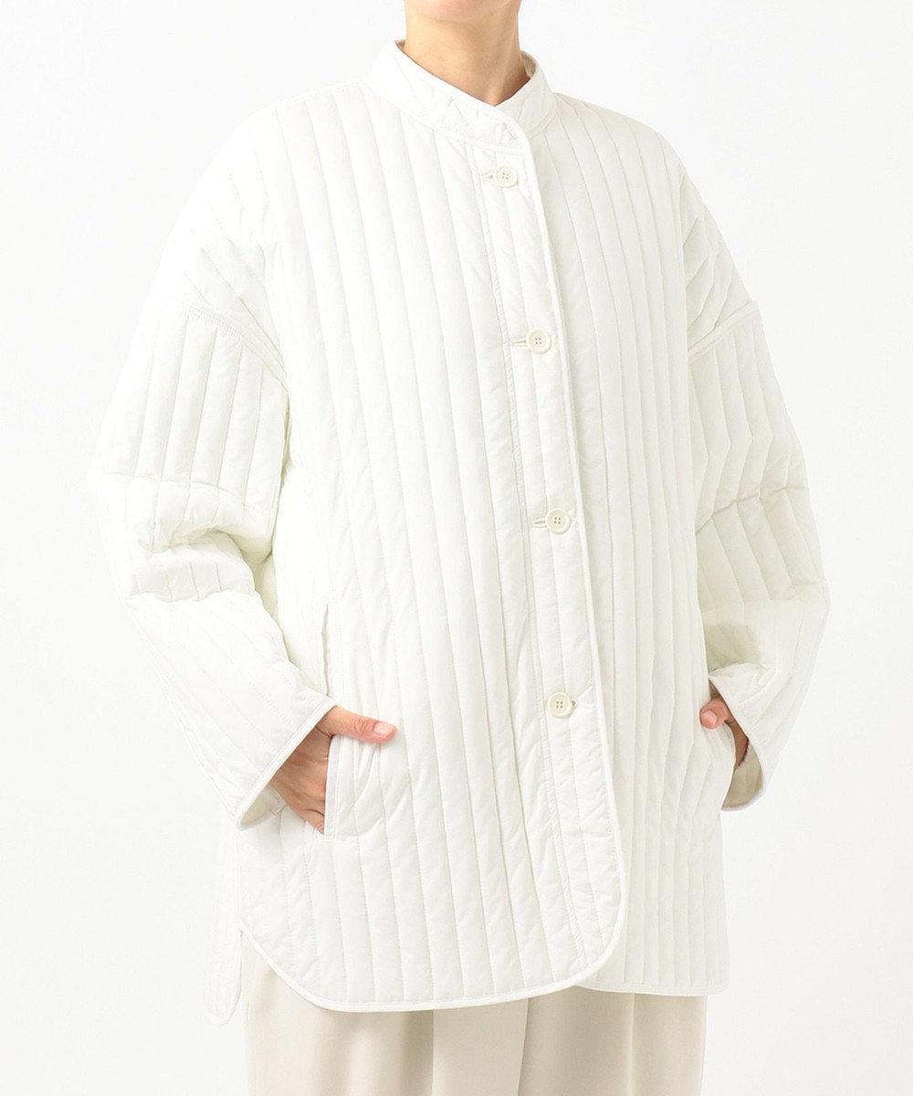 #Newans 【亀恭子さんコラボ】ストライプキルトショートコート(番号NW37) ホワイト系
