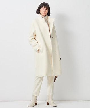 23区 【中村アンさん着用】ダブルクロスベロアスタンドカラー コート(番号L29) オフ系