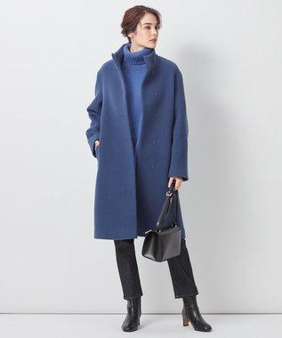23区 【中村アンさん着用】ダブルクロスベロアスタンドカラー コート(番号L29) インクブルー系