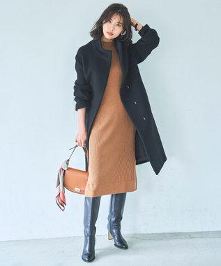23区 【中村アンさん着用】ダブルクロスベロアスタンドカラー コート(番号L29) ブラック系