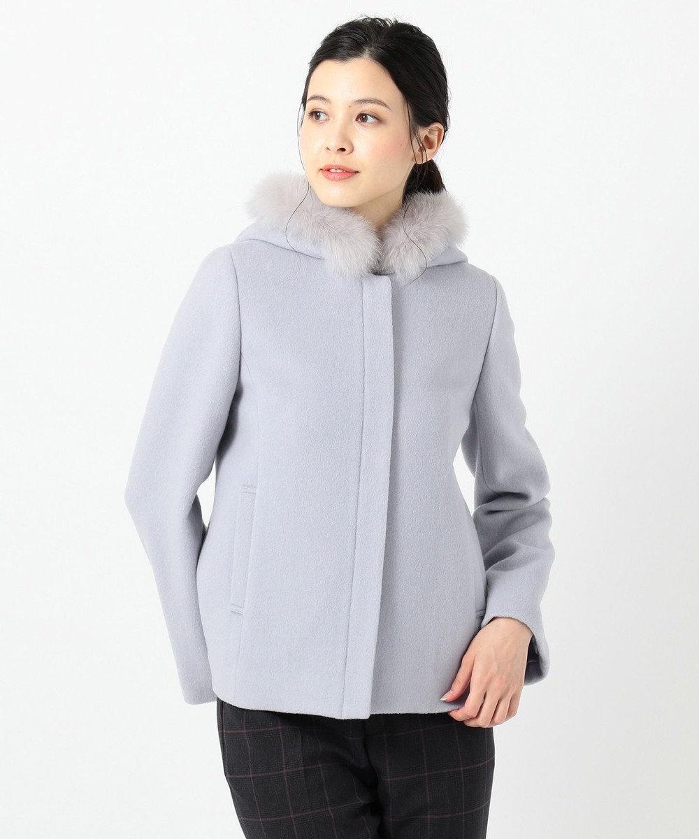 any SiS L 【美人百花1月号掲載】スーペリアファインウールモッサ ショート コート スモーキーブルー