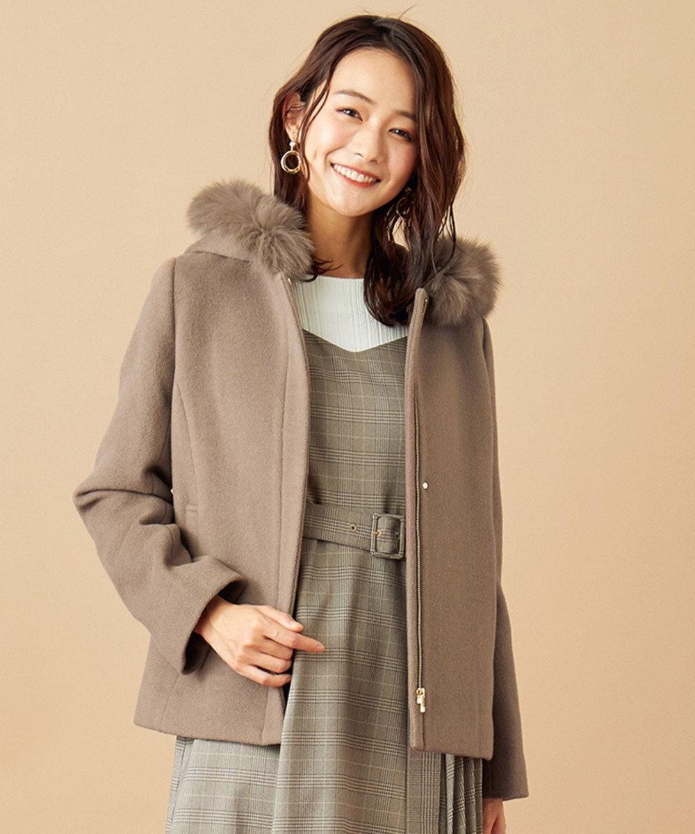any SiS L 【美人百花1月号掲載】スーペリアファインウールモッサ ショート コート ライトモカ