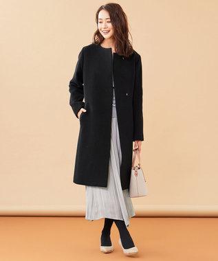 any SiS S 【美人百花1月号掲載】スーペリアファインウールモッサ ノーカラーコート ブラック