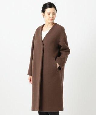 any SiS L 【MANTECO】カラーレスVネック コート モカブラウン