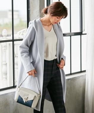 any SiS 【WEB限定カラー有】フーデットソフトメルトン ロングコート アイスブルー