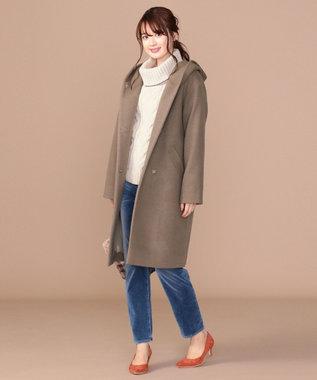 any SiS 【WEB限定カラー有】フーデットソフトメルトン ロングコート モカ