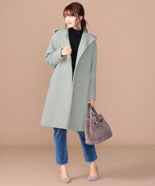 any SiS 【WEB限定カラー有】フーデットソフトメルトン ロングコート ミント