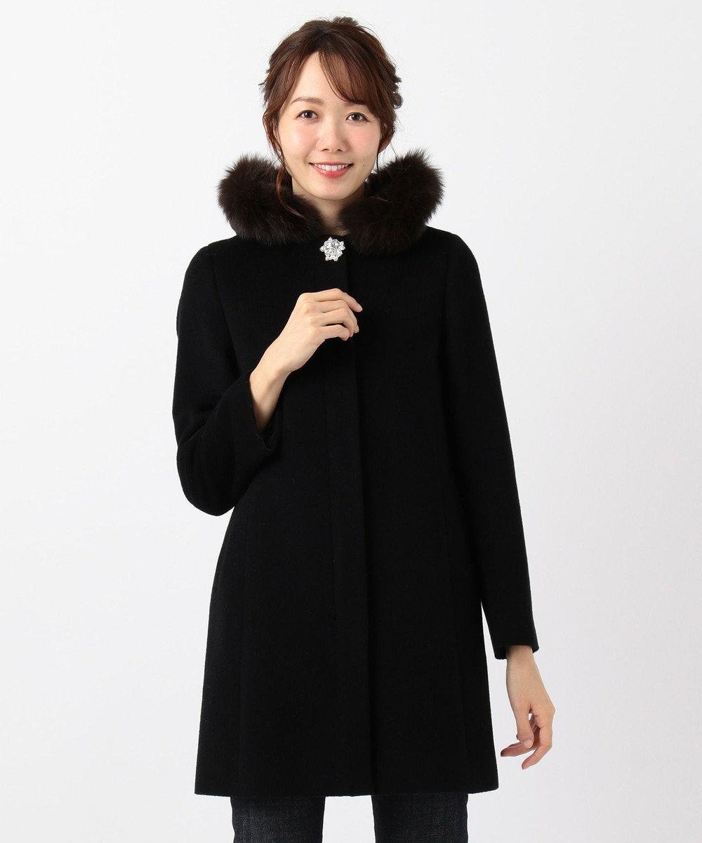any SiS L 【3WAY】ロイヤルアンゴラ ミドル コート ブラック