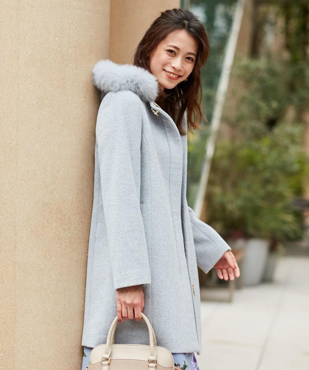 any SiS L 【3WAY】ロイヤルアンゴラ ミドル コート ライトトップグレー