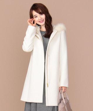 any SiS L 【3WAY】ロイヤルアンゴラ ミドル コート オフホワイト