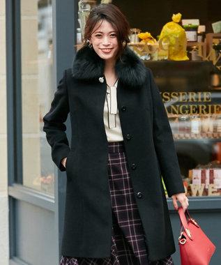 any SiS S 【2WAY】ロイヤルアンゴラ ステンカラー コート ブラック