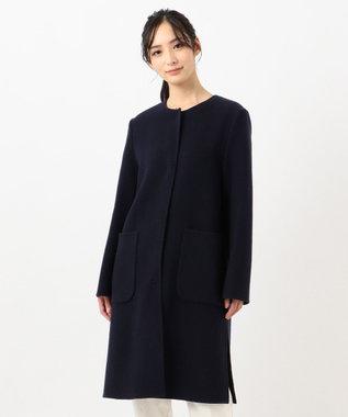 組曲 【カシミヤ混】W/Ny カシミヤリバー ノーカラーコート ネイビー系