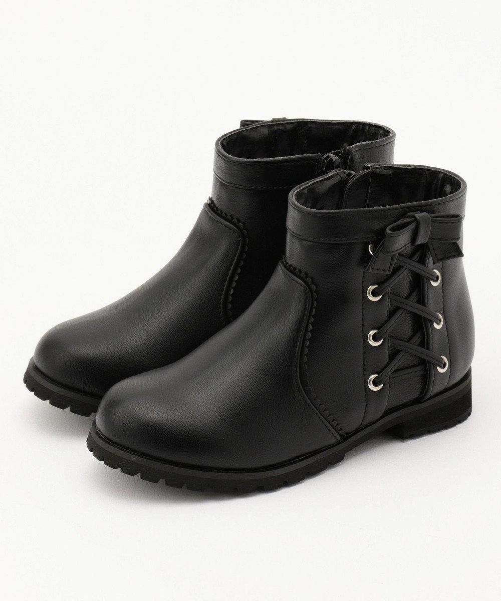 組曲 KIDS 【KIDS雑貨】サイドレースUP合皮ショート ブーツ(19~21cm) ブラック系