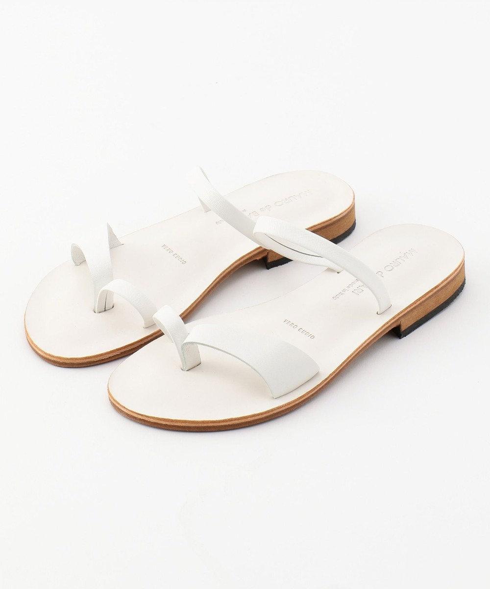 BEIGE, MAURO de BARI / レザーサンダル(トング) White(BIANCO)