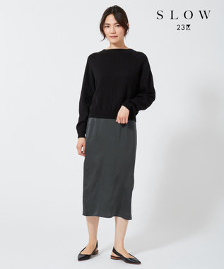 23区 【SLOW】ポインテッドトゥ  バックストラップ サンダル ブラック系