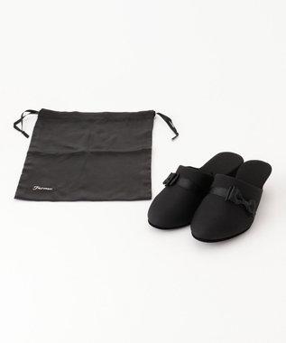 Feroux 【巾着付き】ヒールポケッタブル シューズ セット ブラック系