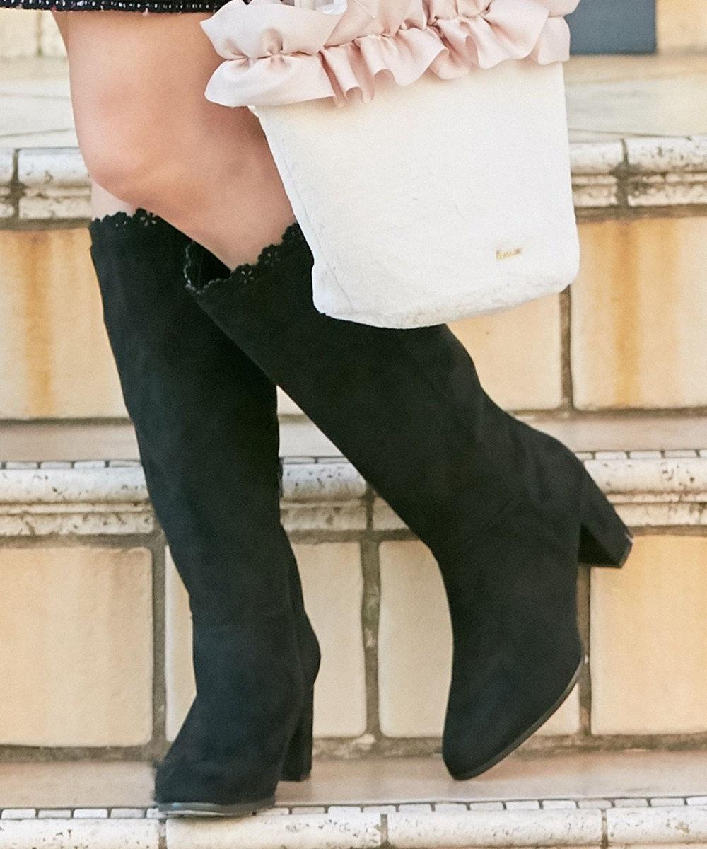 Feroux 【Ray12月号掲載】カットワークスカラロング ブーツ ブラック系