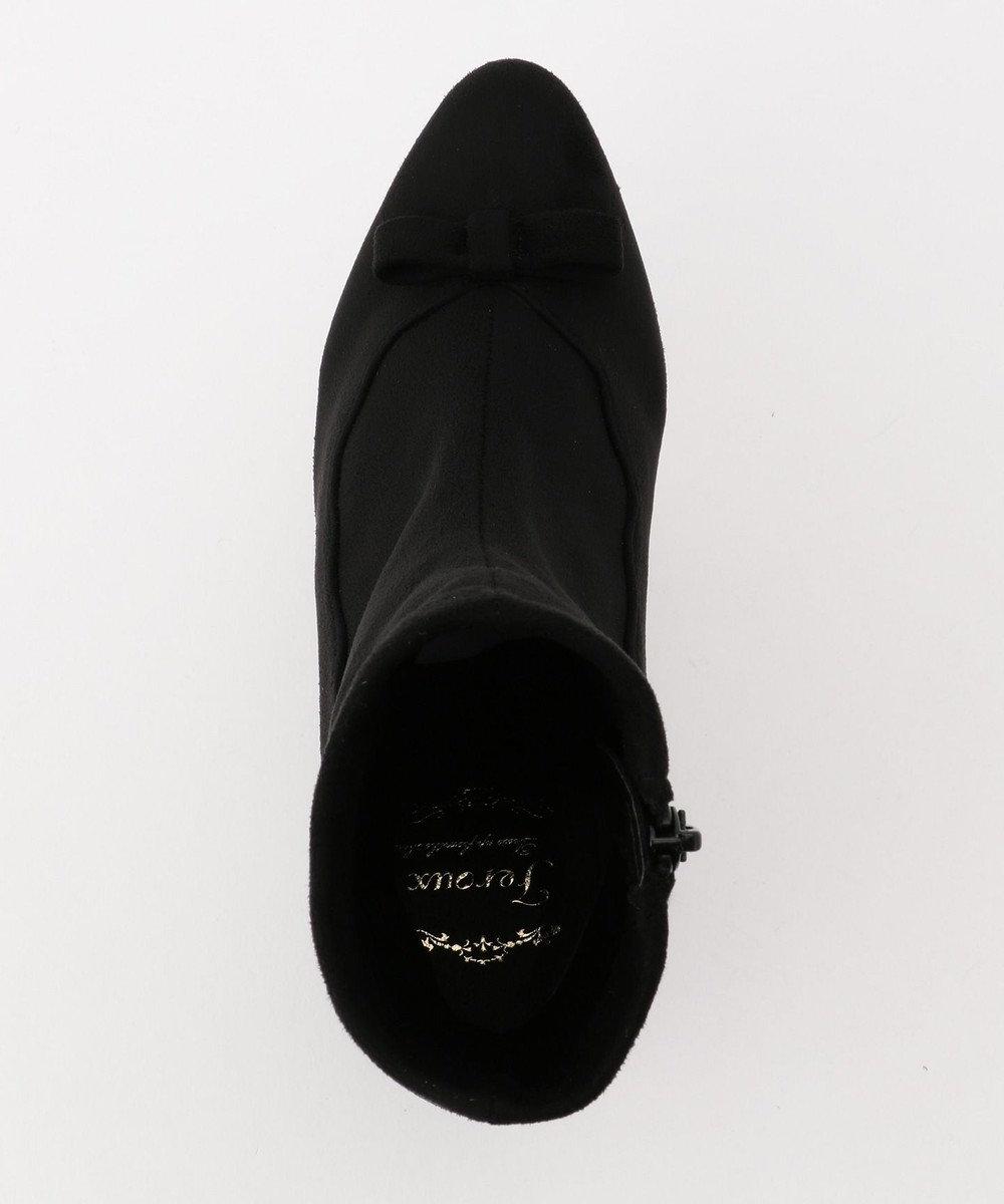 Feroux フェミニンスカラストレッチ ショートブーツ ブラック系