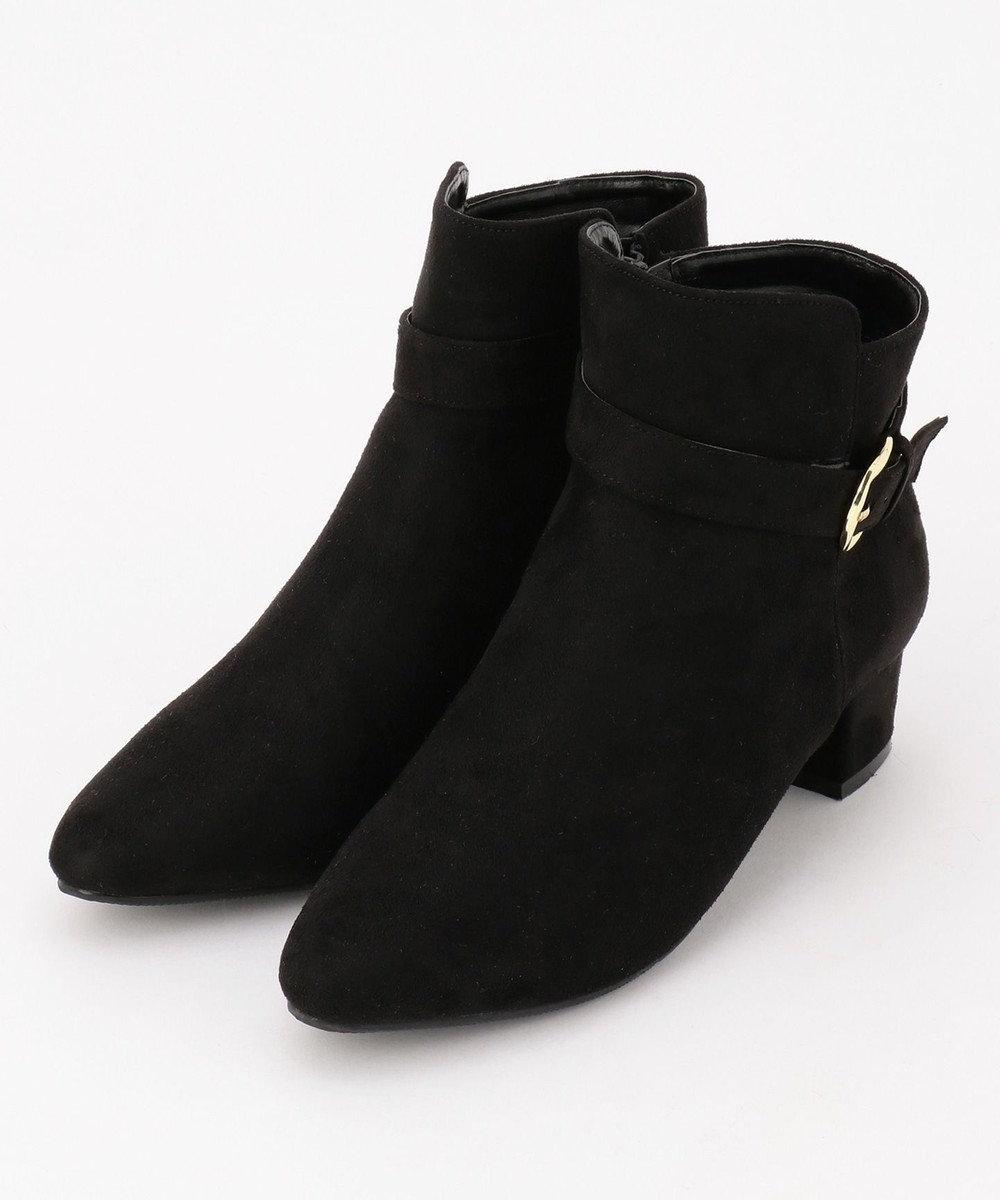 any FAM スウェード風ショート ブーツ ブラック系
