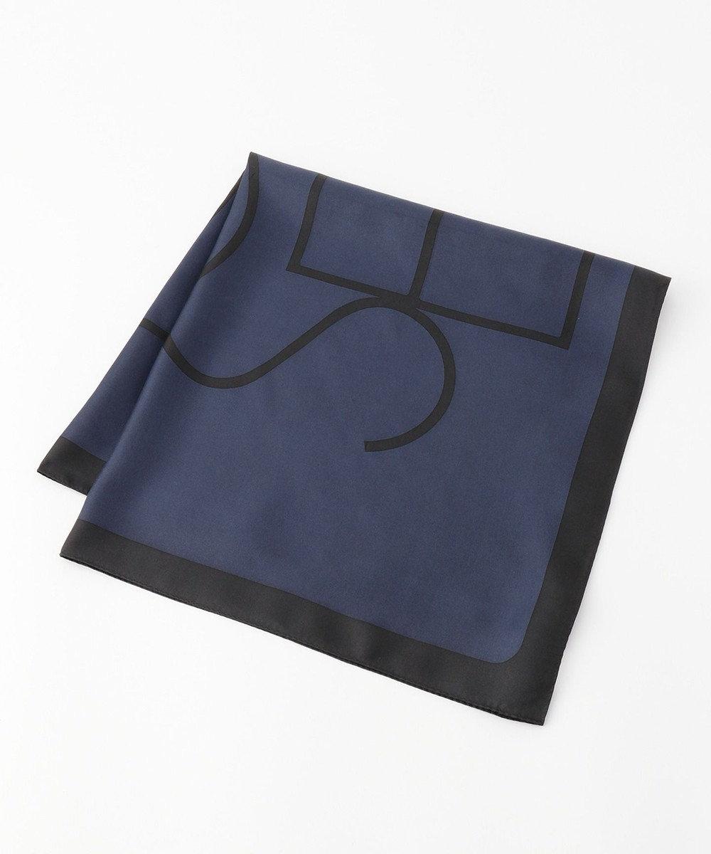 JOSEPH ロゴプリント シルク スカーフ ネイビー系5