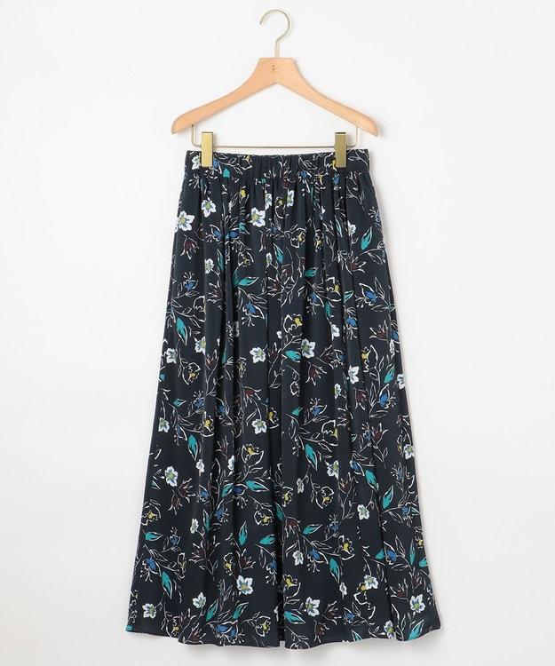 組曲 【KMKK】ピーチサテンマルチフラワープリント スカート ブラック系5