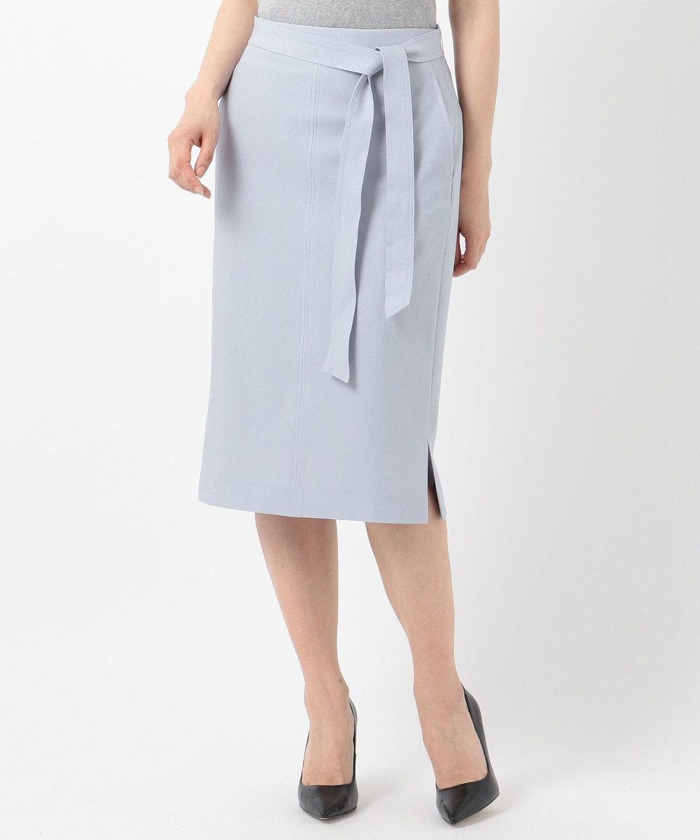 ICB L 【洗えるセットアップ】Fied サイドスリットスカート サックスブルー系