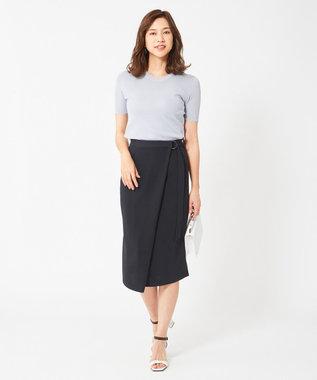 ICB L 【洗えるセットアップ】Fied サイドスリットスカート ネイビー系